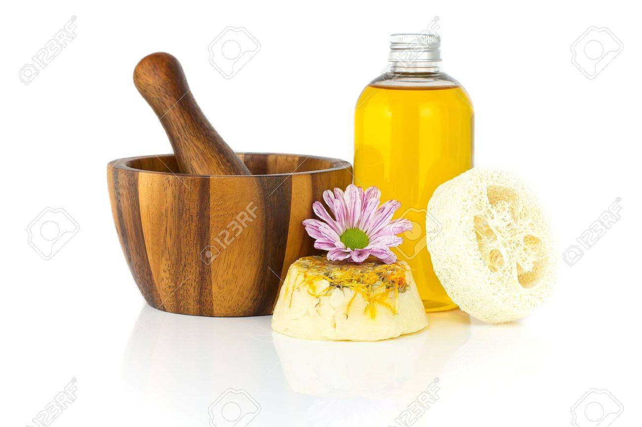 Homemade soap chamomile and jojoba oil. Isolate on a white background. Stock Photo - 9531752