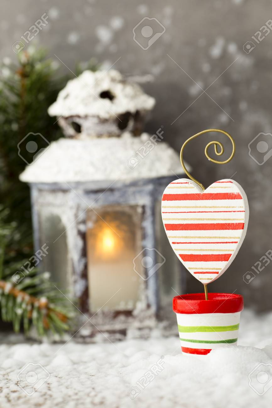 Laterne Mit Weihnachtsbaum, Weihnachtsdekor. Grußkarte. Lizenzfreie ...