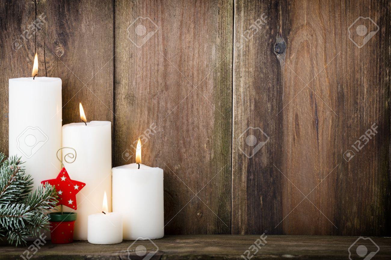 christmas candles and lights christmas background stock photo
