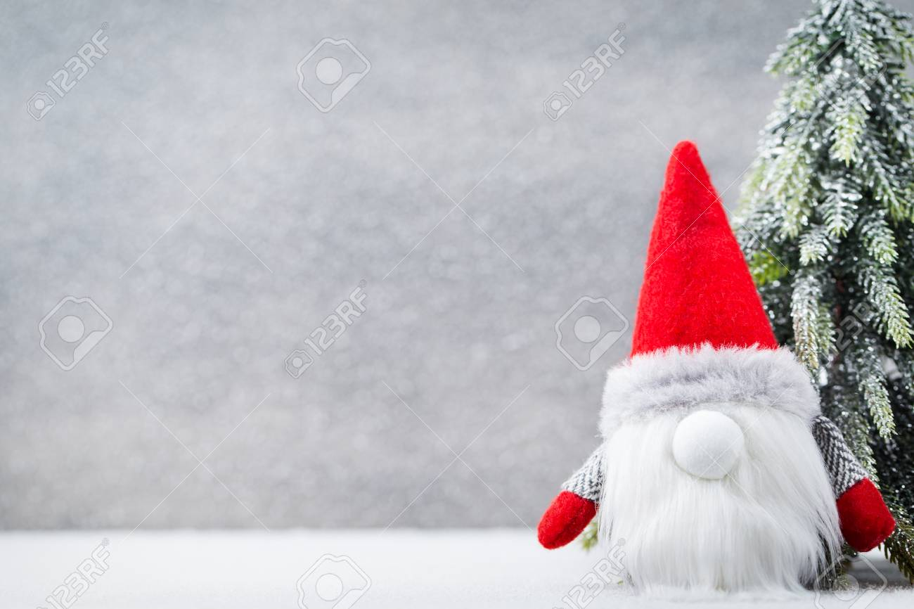 Christmas Gnome Decor.Christmas Gnome Decor With Santa Hat Holiday Bohek Background