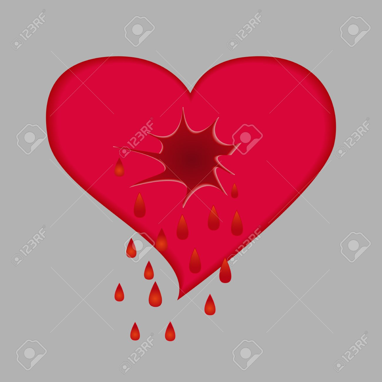 A Broken Heart Is Crying Tears Of Blood Royalty Free Cliparts