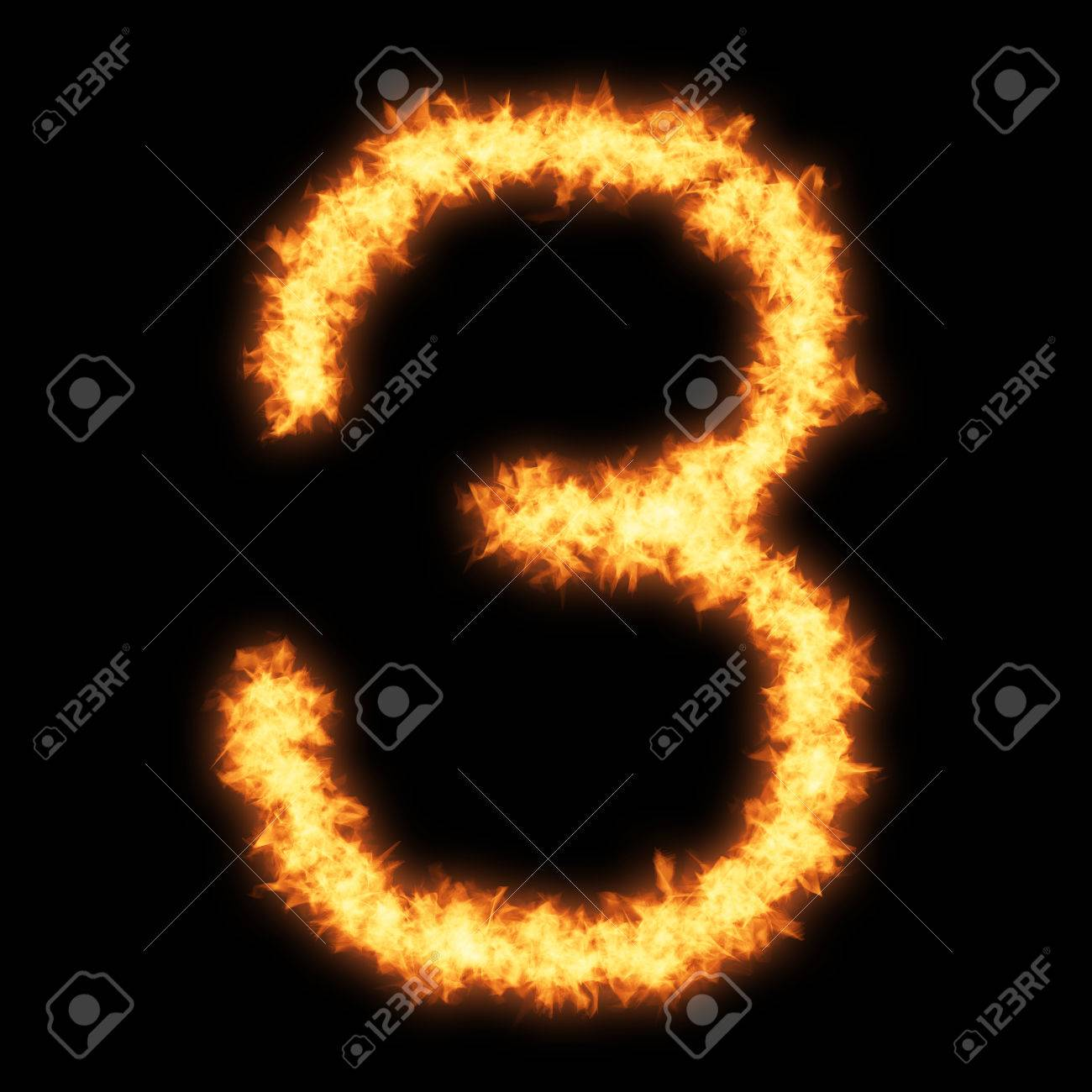 Digit Number 3 With Fire On Black Background- Helvetica Font.. Stock ...