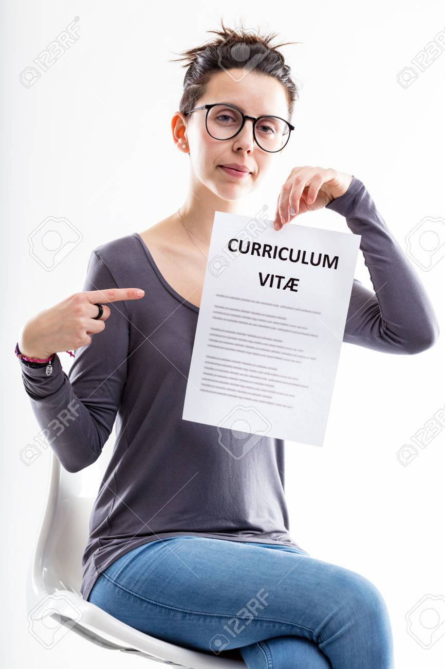 friendly office worker pointing out a resume curriculum vitae meaning you can submit your