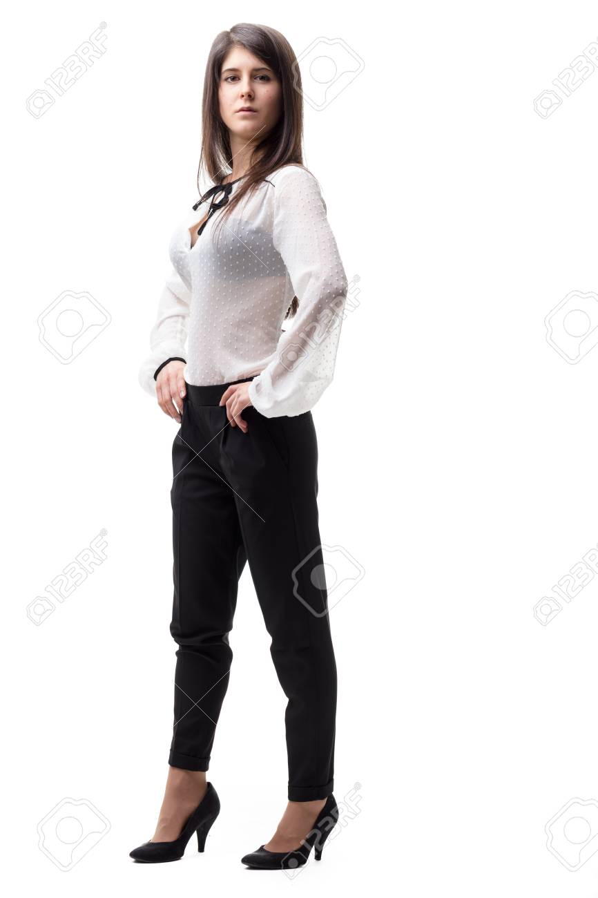 fc49a8c5 Stock Photo - strong woman on high heels is very elegant and strong as a  fashion model, she's proud and beautiful but she's so young