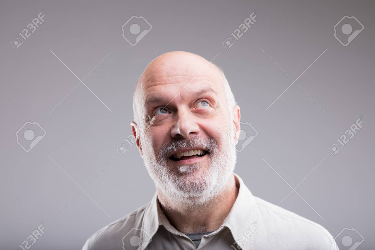 Bald Old Man Imagining Beautiful Good Things To Realize Further Stock Photo    89103549