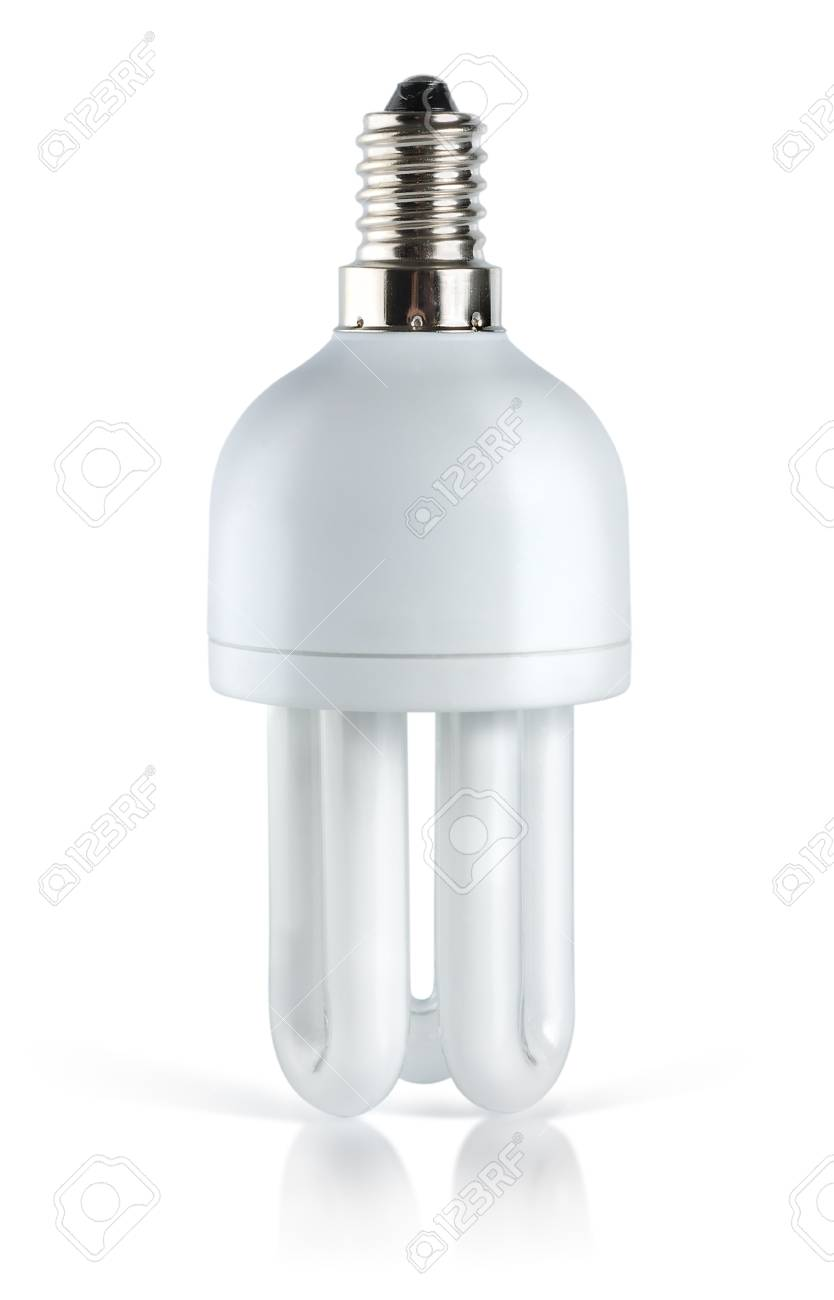 Fluorescent lightbulb. Path Stock Photo - 9406239