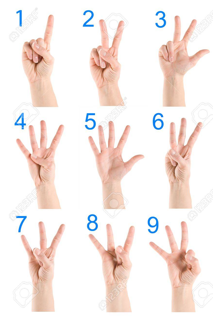 Collage hand showing number Stock Photo - 17963005