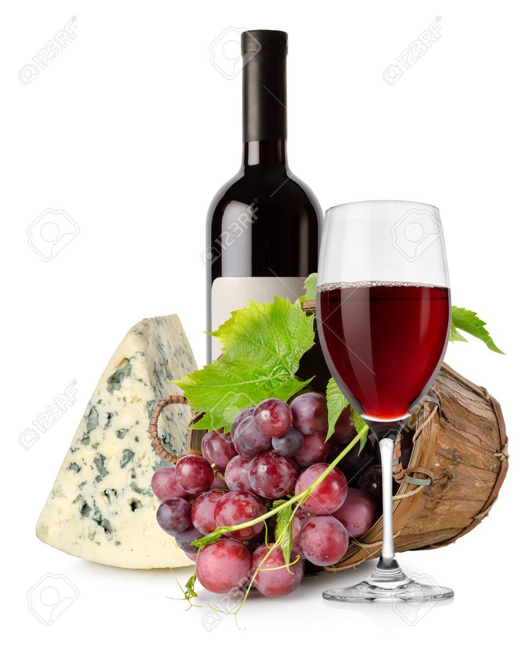 Wine cheese and grape in basket Stock Photo - 17963015
