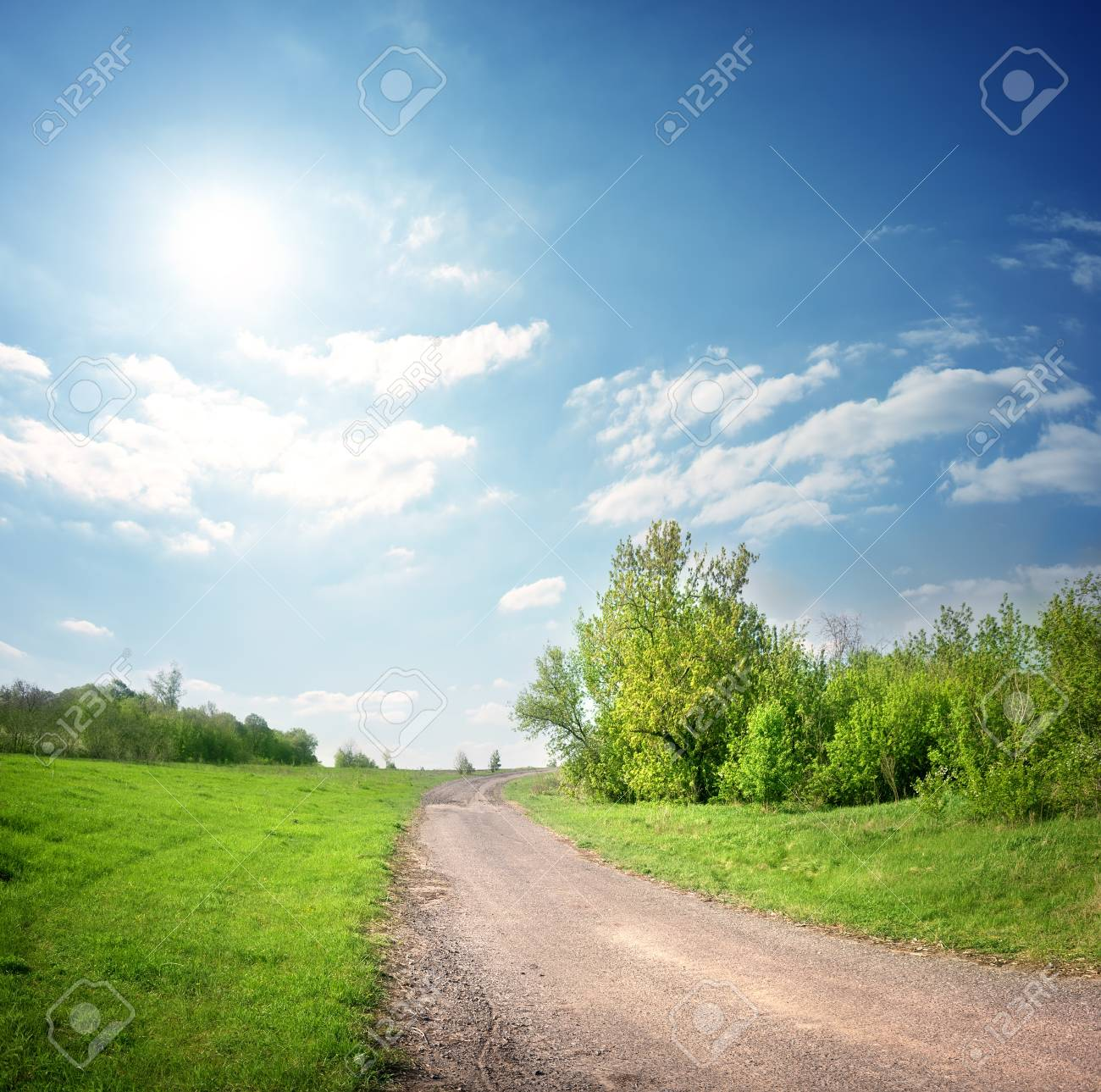 Country road in the lonely village in the spring Stock Photo - 19496634