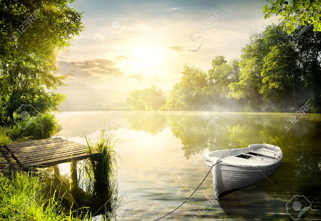 Boat On The Bank Of The River ...