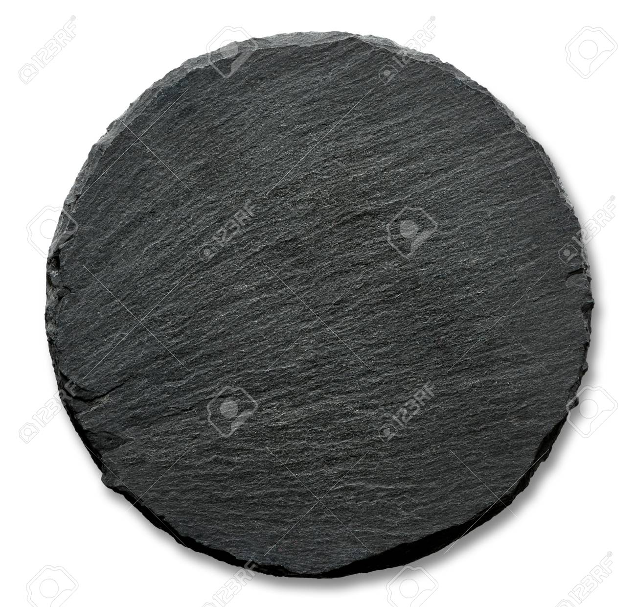 Round slate stand isolated on a white background - 49177181