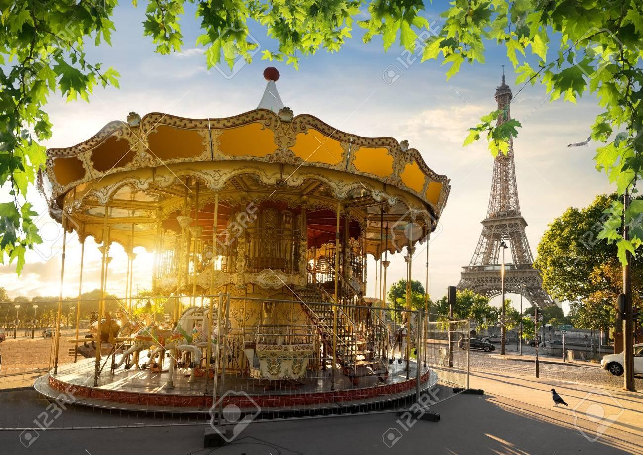 Carousel in park near the Eiffel tower in Paris - 66035306