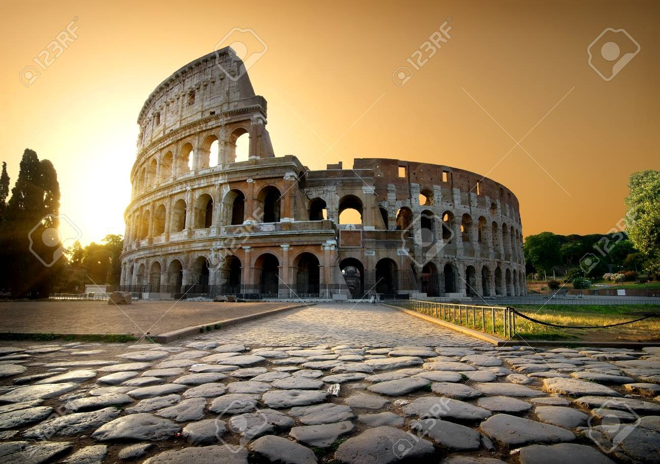 Colosseum and yellow sky - 70817077