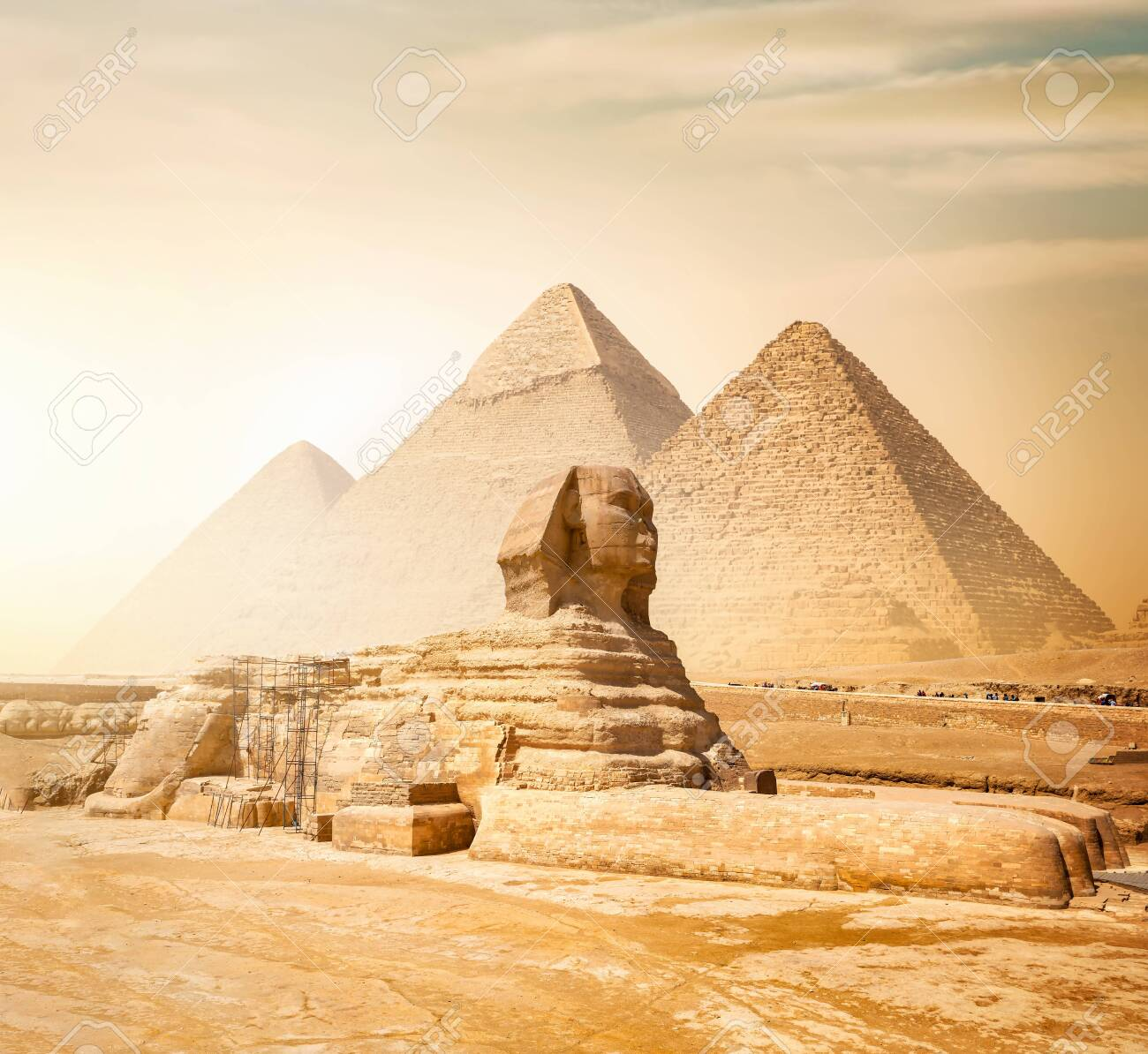 Sphinx and pyramids - 127066907