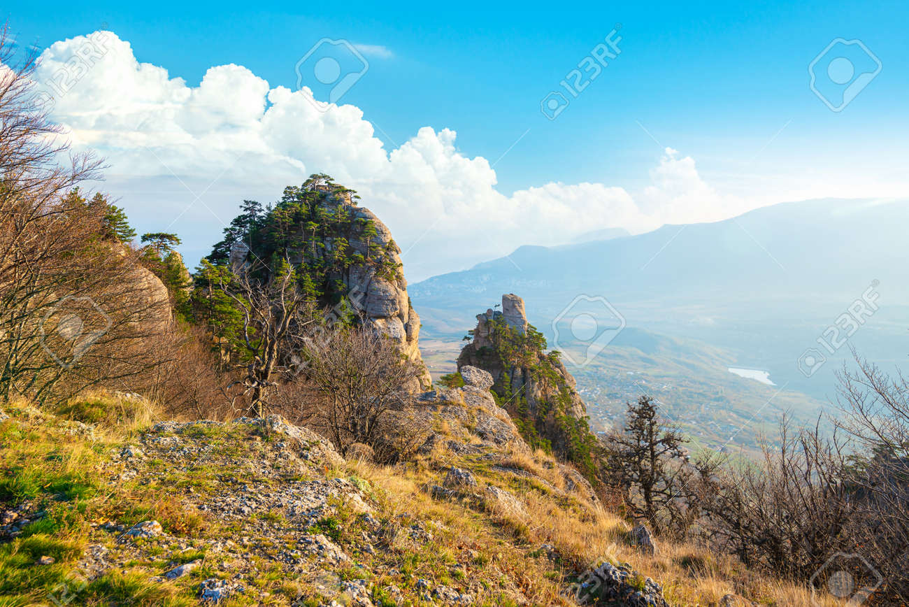 Mountains in the valley of ghosts. Crimea - 155872358