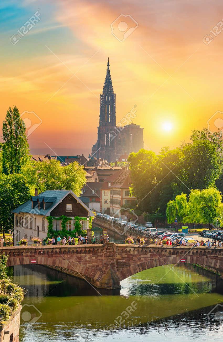 Reformed Church of St. Paul in Strasbourg at sunrise, France - 169858289