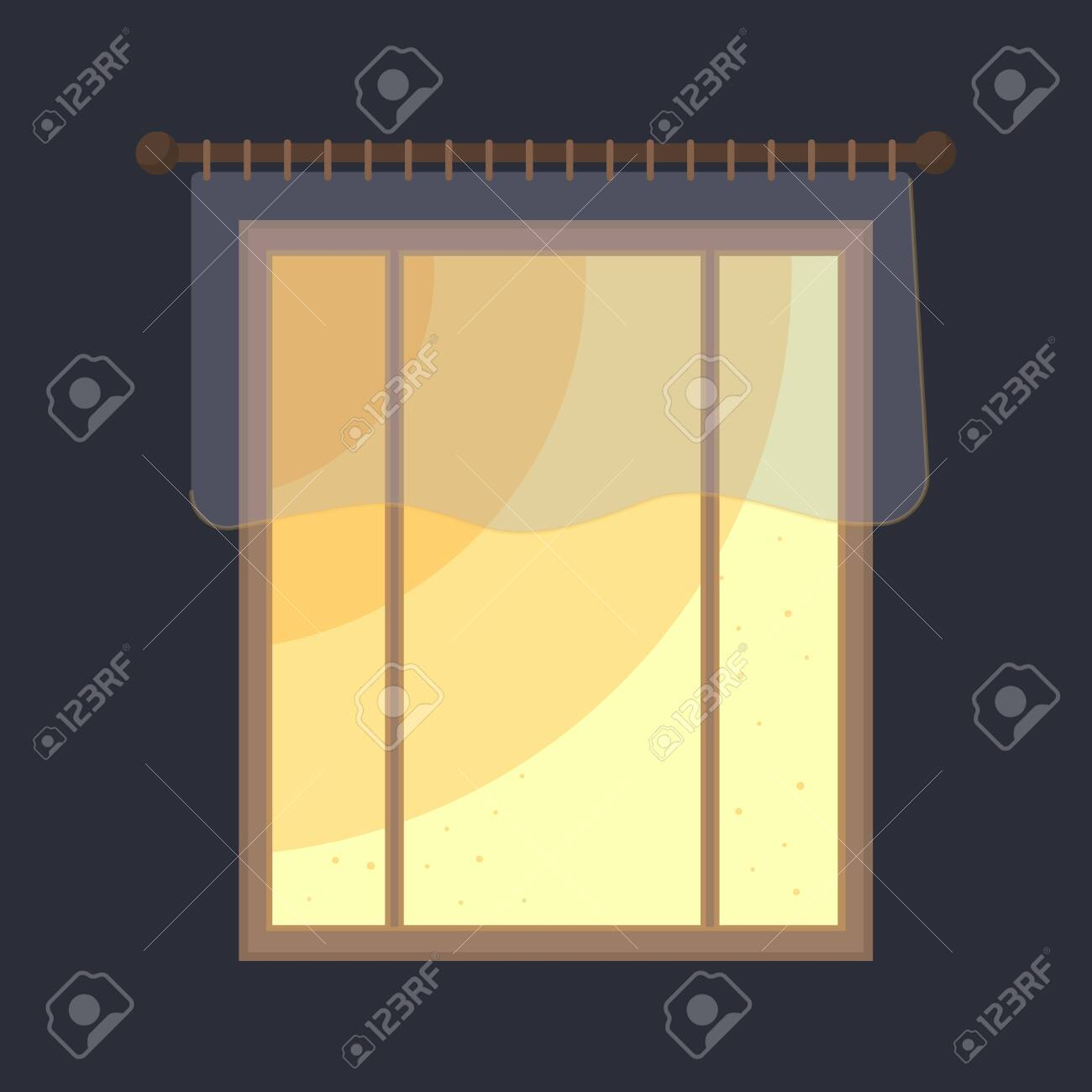 Vector Window With Short Sheer Curtains The Room Is Dark Only Royalty Free Cliparts Vectors And Stock Illustration Image 134957955
