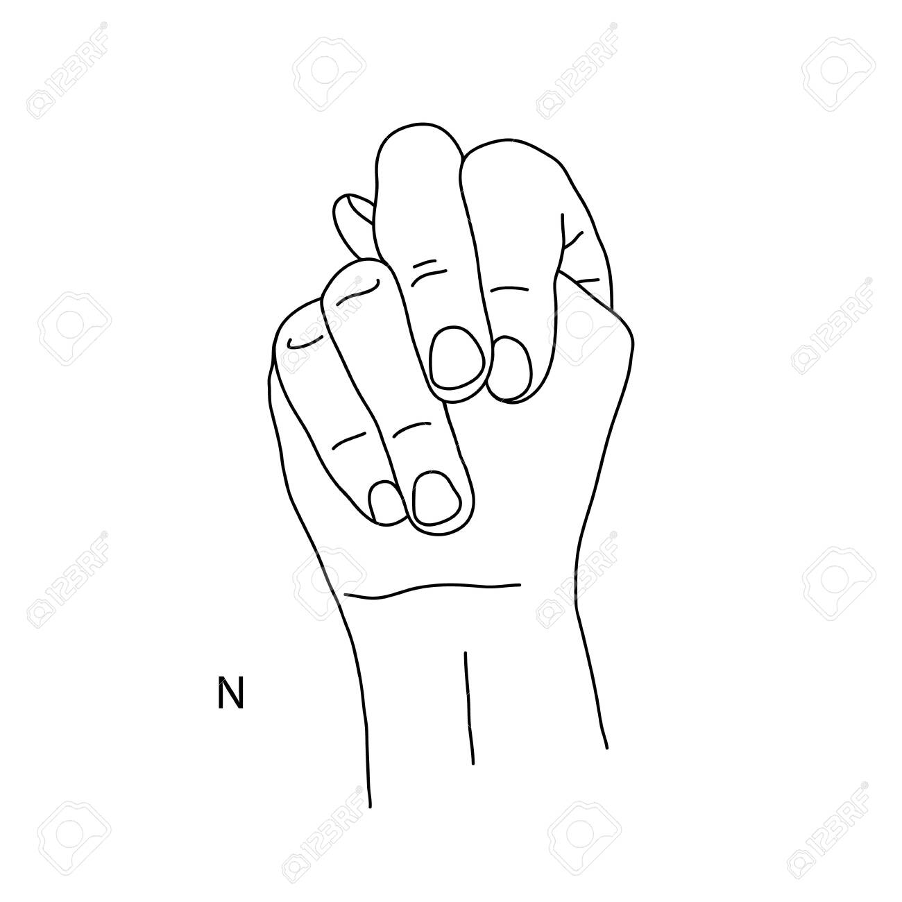 N Is The Fourteenth Letter Of The Alphabet In Sign Language Royalty Free Cliparts Vectors And Stock Illustration Image 144718005