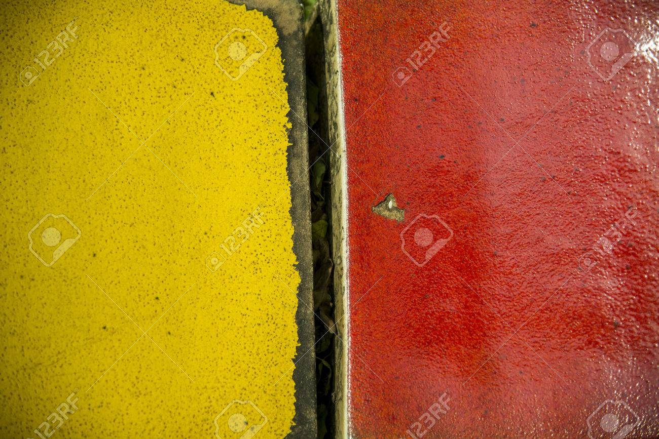 Yellow and red two toned wall Stock Photo - 24983526