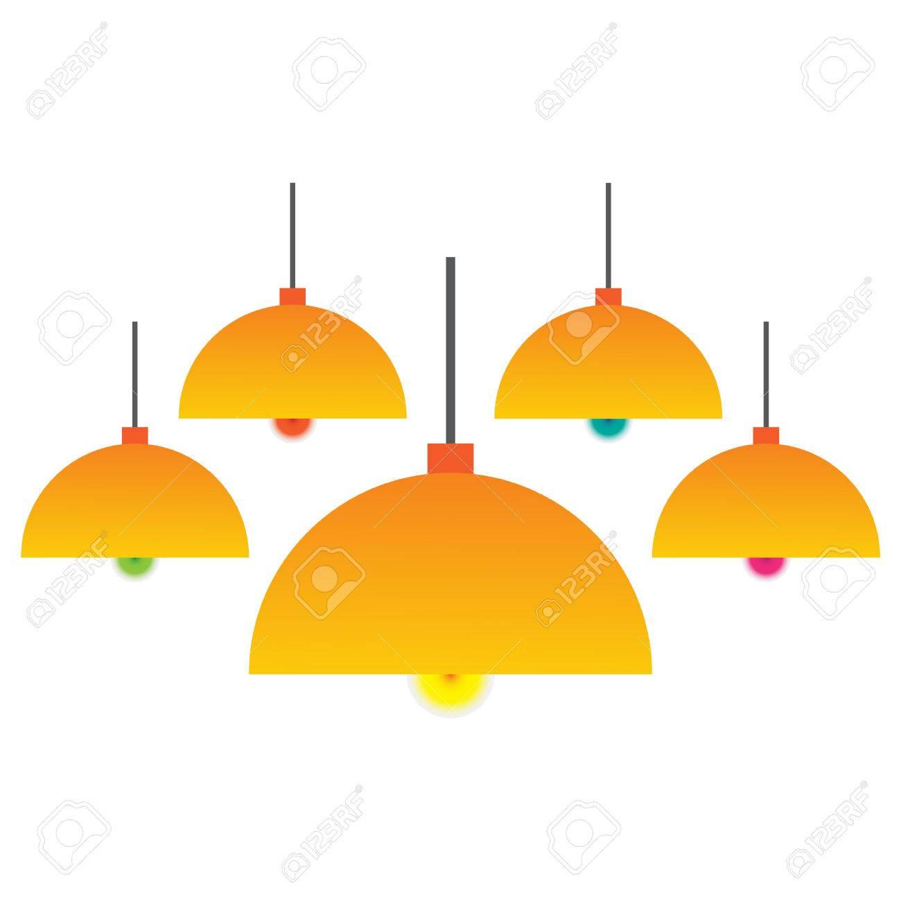 vector bombillas colorido con Lámpara colgante aislado el de KTlcF1J