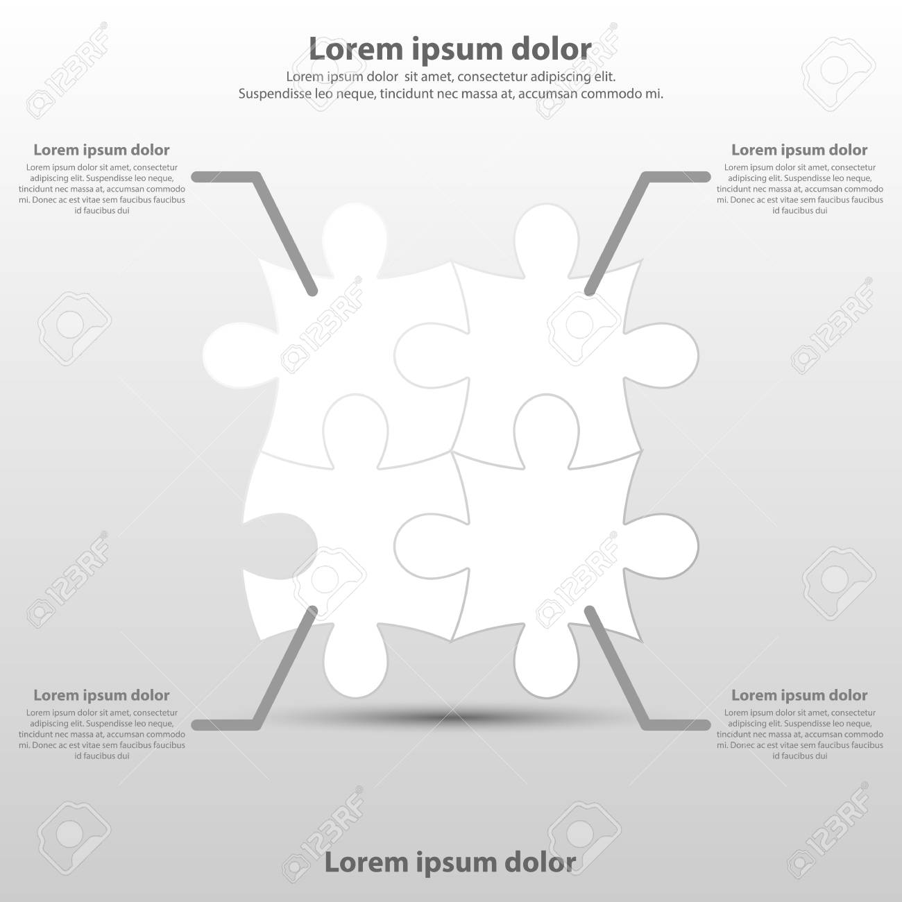 Four topics simple white paper 3d square on timeline for website.
