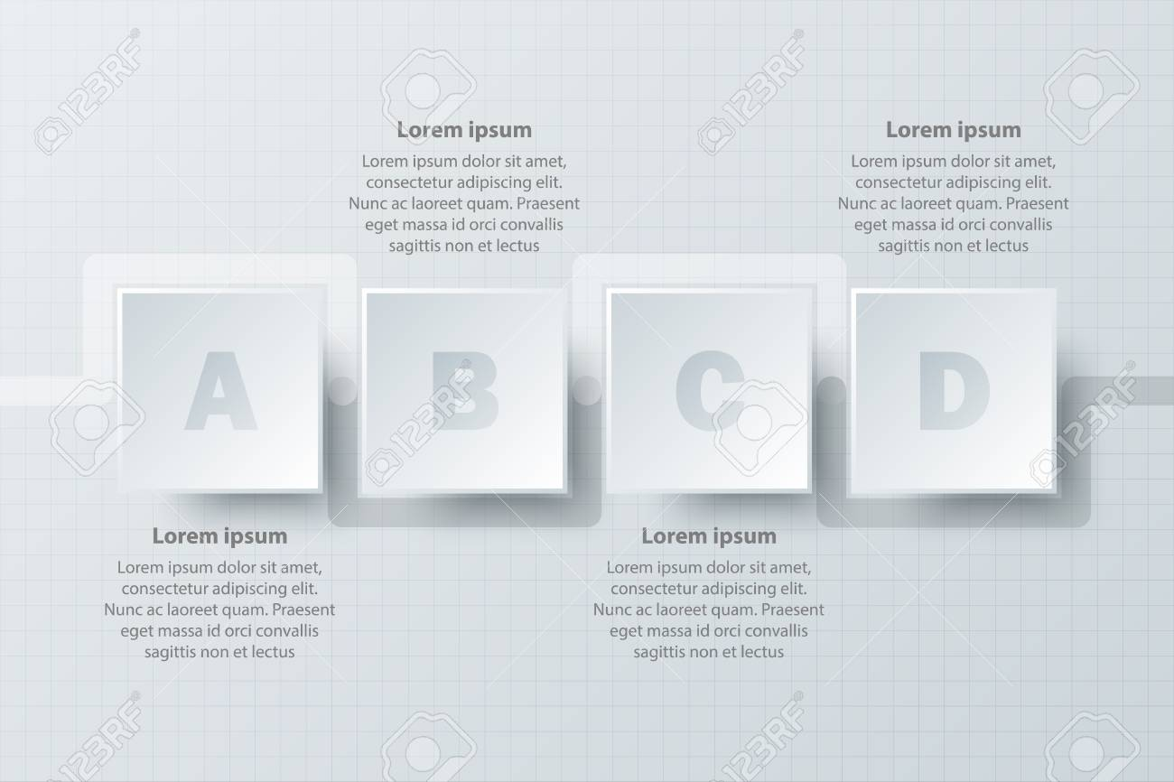 Four topics simple white paper 3d circle for website presentation.
