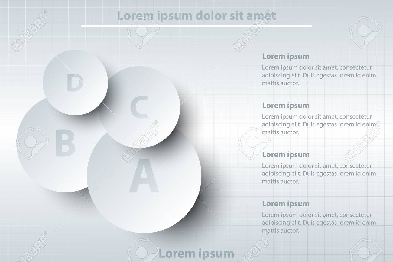 four topics of simple white d paper circle on layer for website four topics of simple white 3d paper circle on layer for website presentation cover poster vector