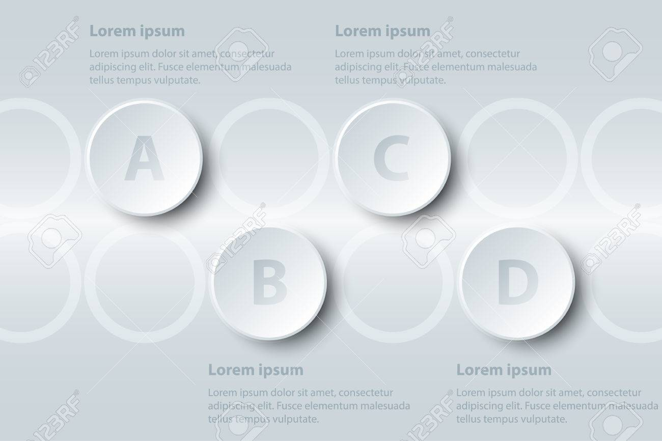 Four topics simple white paper 3d square on white grid for website.