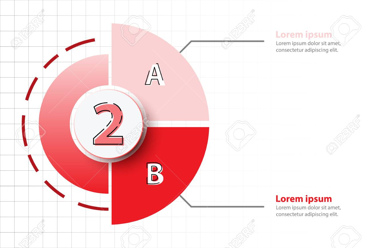 Two Topics Of Red Half Pie Chart With 3d Paper Circle In Center