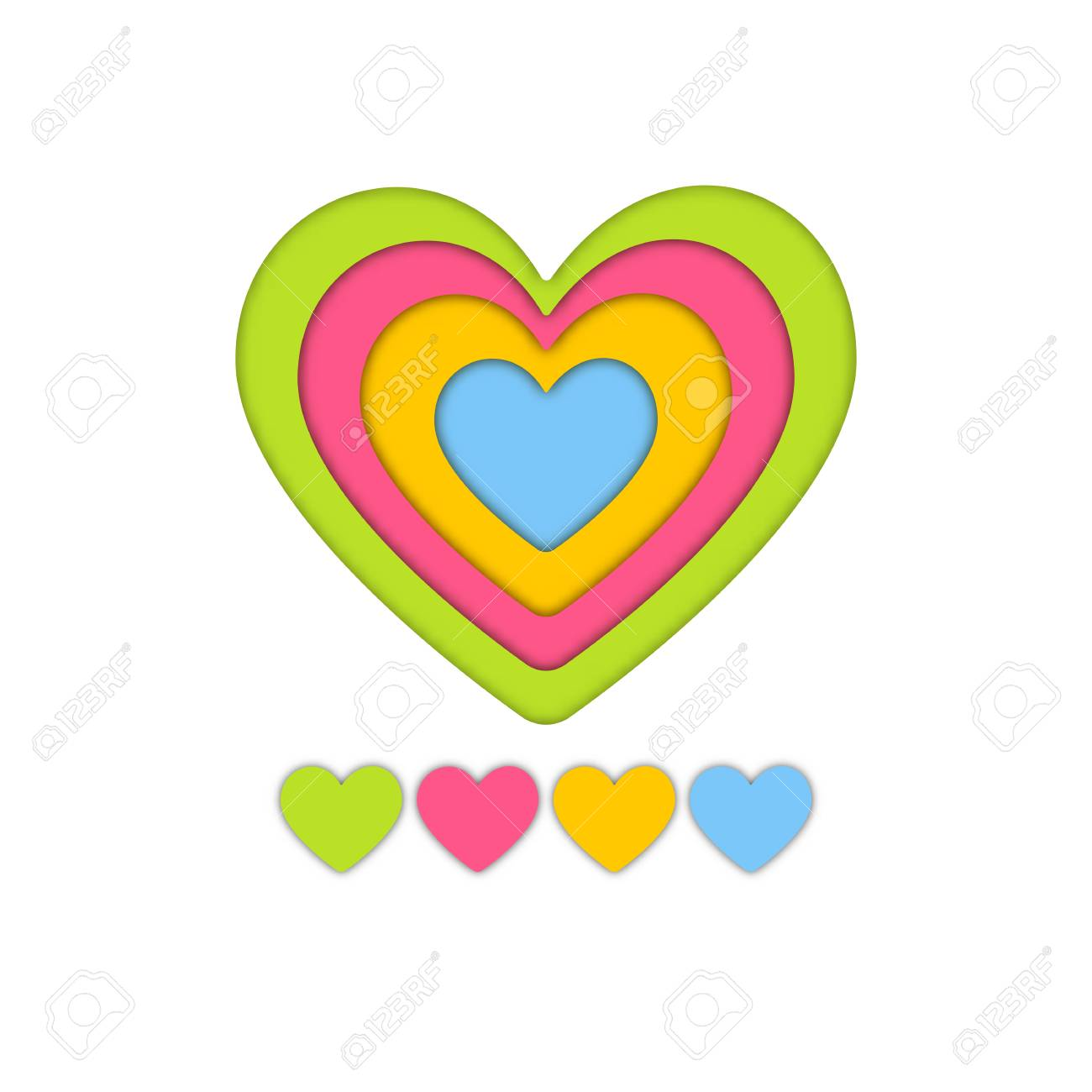 Colorful Layer Art Paper Craft Of Heart For Valentine Graphic