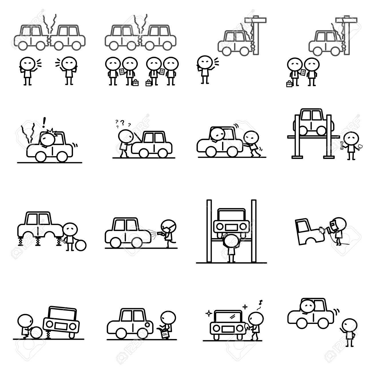 Set Of Cartoon Simple Outline Variety Activities Of Car Accident