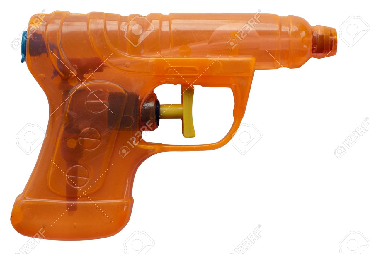 dcbe8edf843e Orange transparent plastic water pistol isolated on a white background.