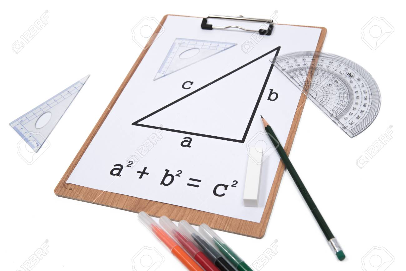 Pythagorean Theorem. Clipboard triangle protractor pencil isolated on the white background. - 86847547