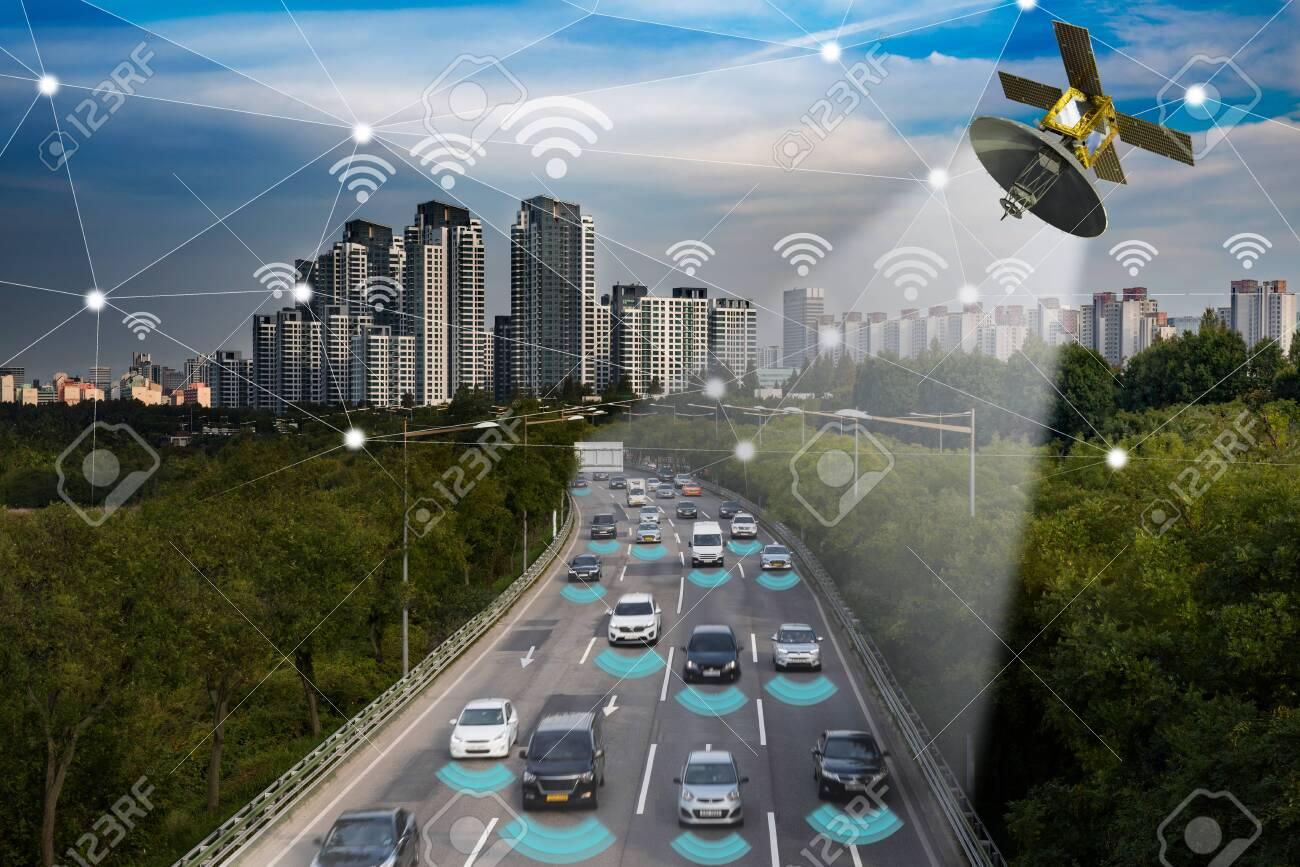 Smart car, Autonomous self-driving mode vehicle on metro city road IoT concept - 132197554
