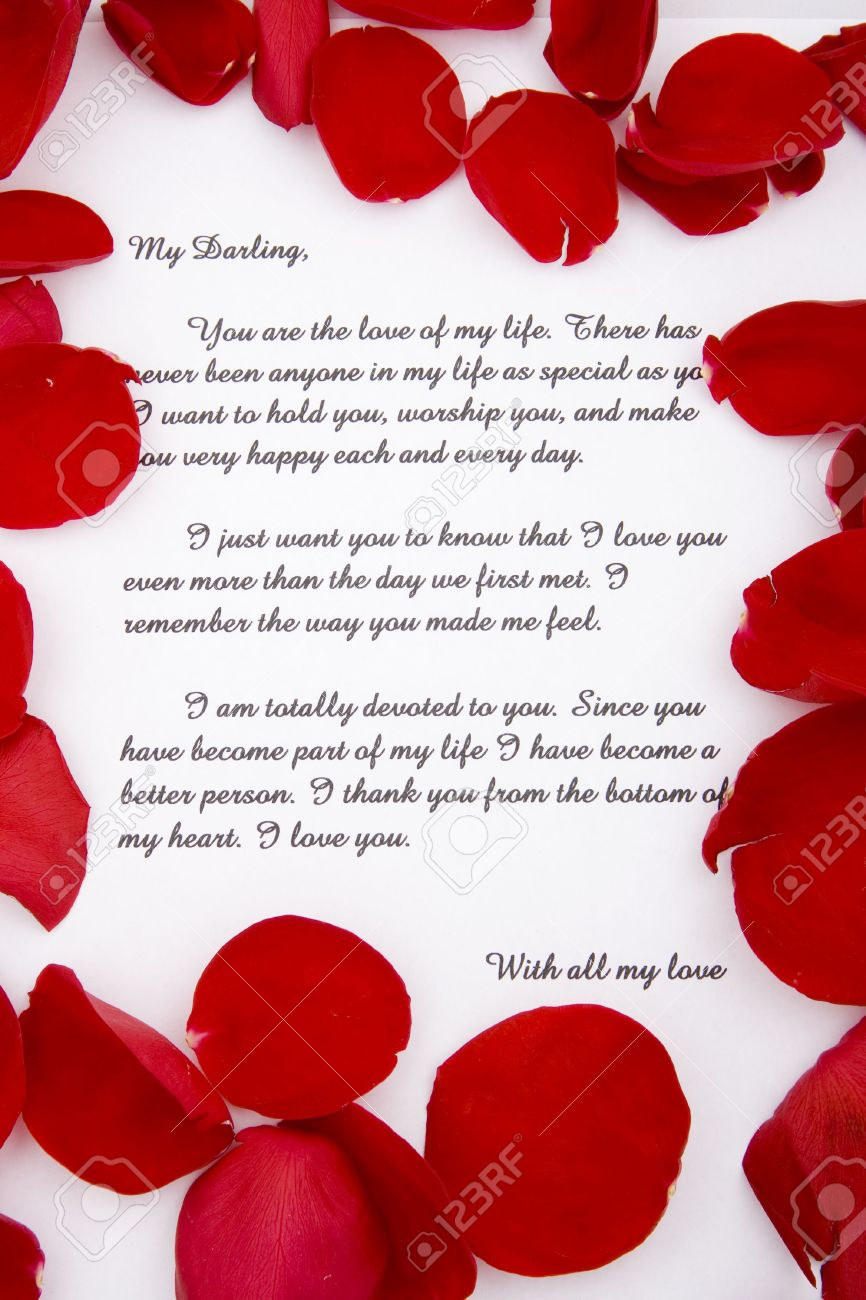 A Romantic Love Letter With Rose Petals Photo Picture And – How to Write Romantic Letters