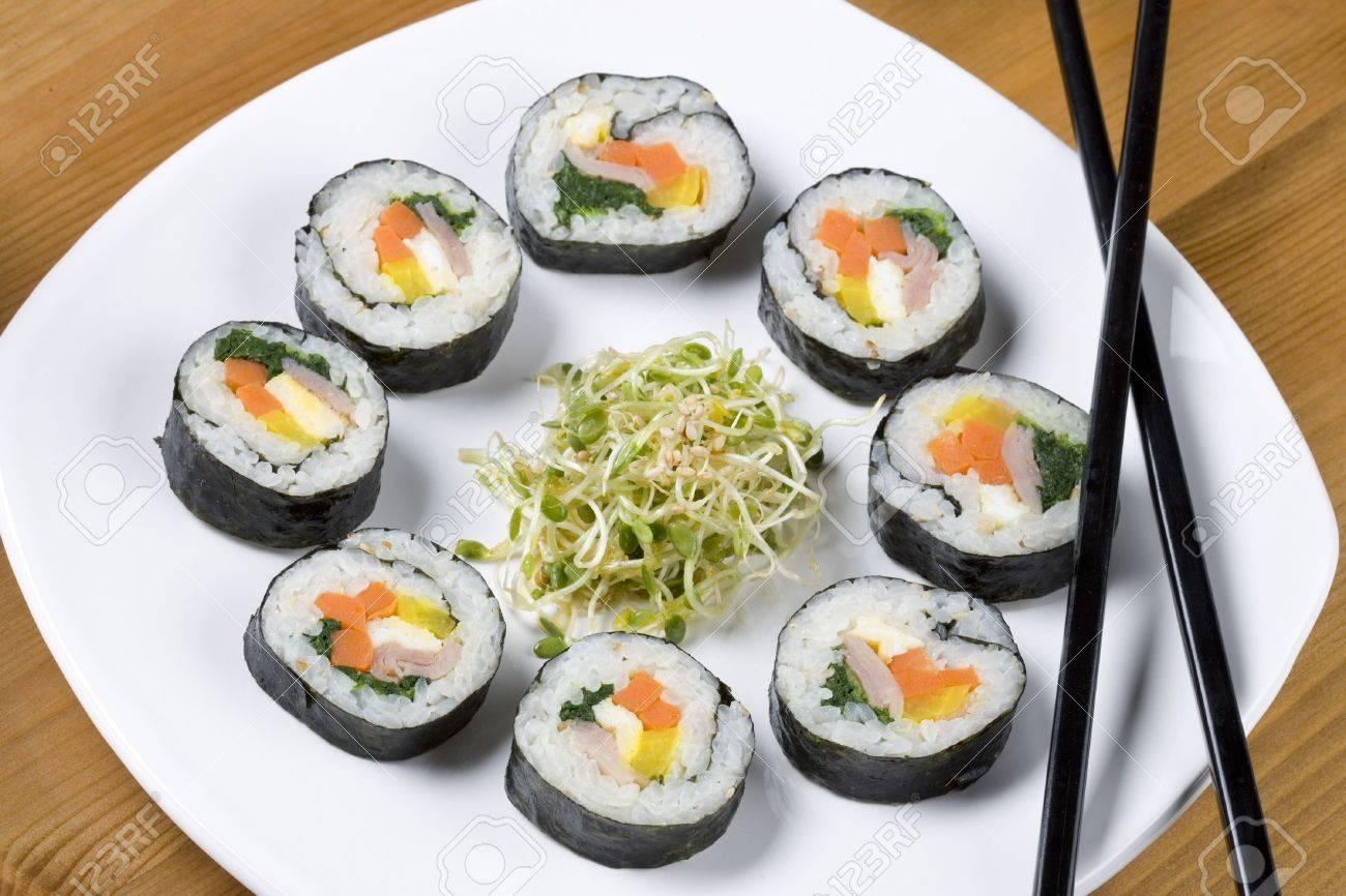 A plate of healthy Korean sushi called kimbap. - 5430211