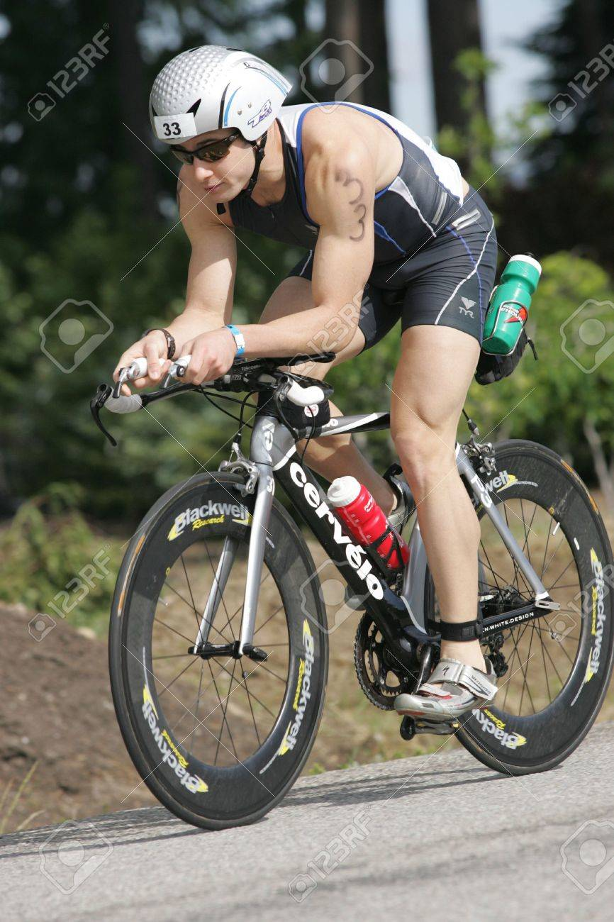 Pro triathlete David Kahn of Port Jefferson, NY on the bike portion of the Ironman Triathlon in Coeur d'Alene, Idaho. 06/21/2009 - 6886176