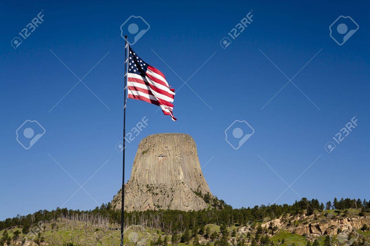 An American flag waves near the entrance to Devils Tower park in Wyoming. - 10119961