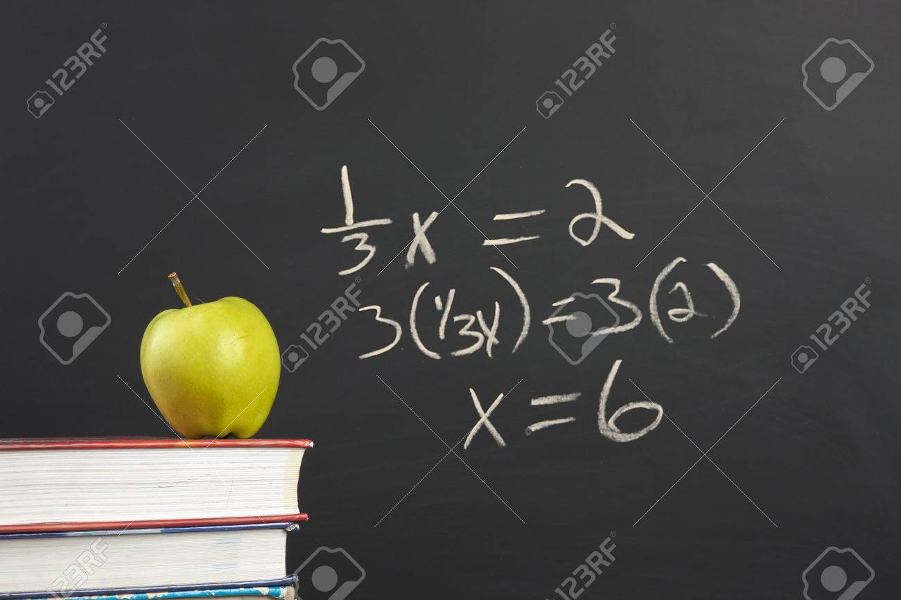 Green apple and algebra equation. - 32885103