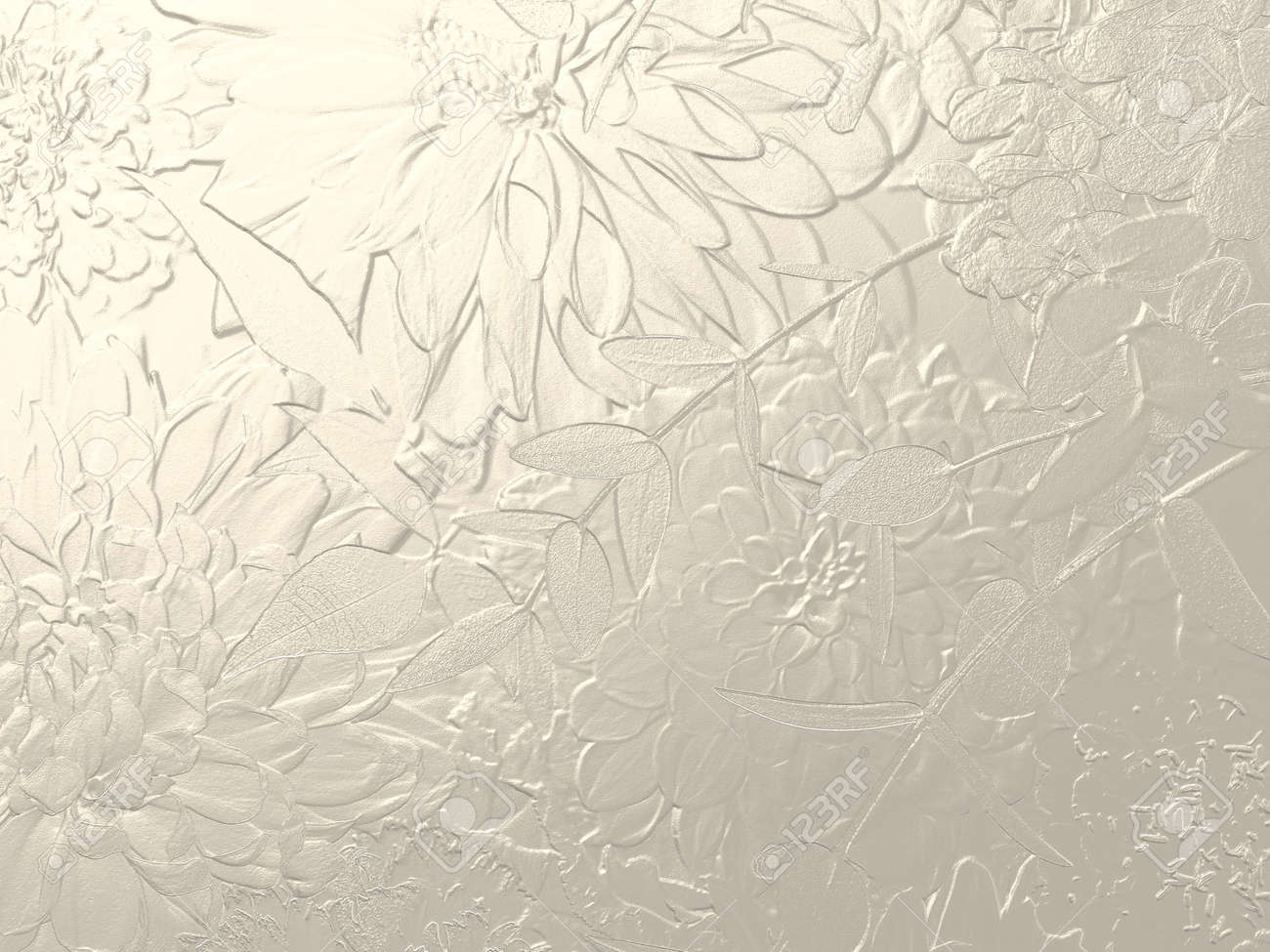 Silver metallic background with dahlia relief - 165693536