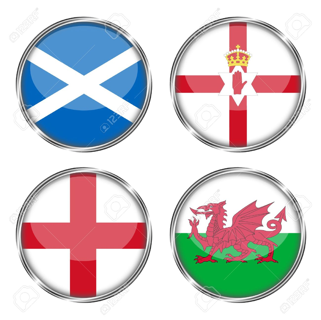 button flag of scotland norther ireland england wales stock