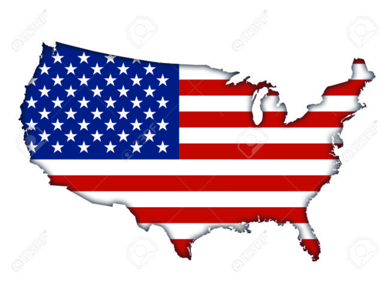 American Flag Banner Map Icon Of USA Stock Photo, Picture And ...