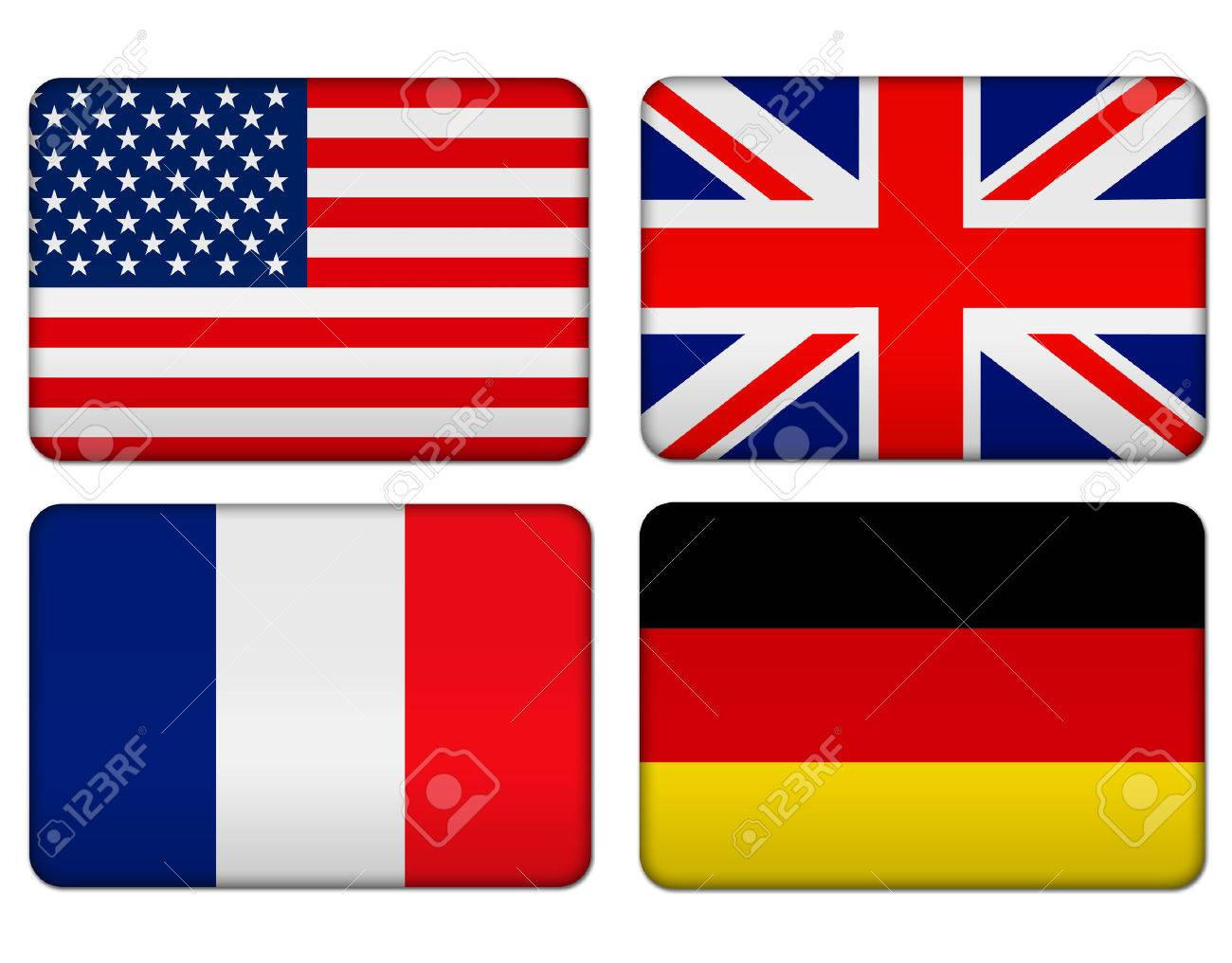 american united kingdom france and germany flag banner stock photo