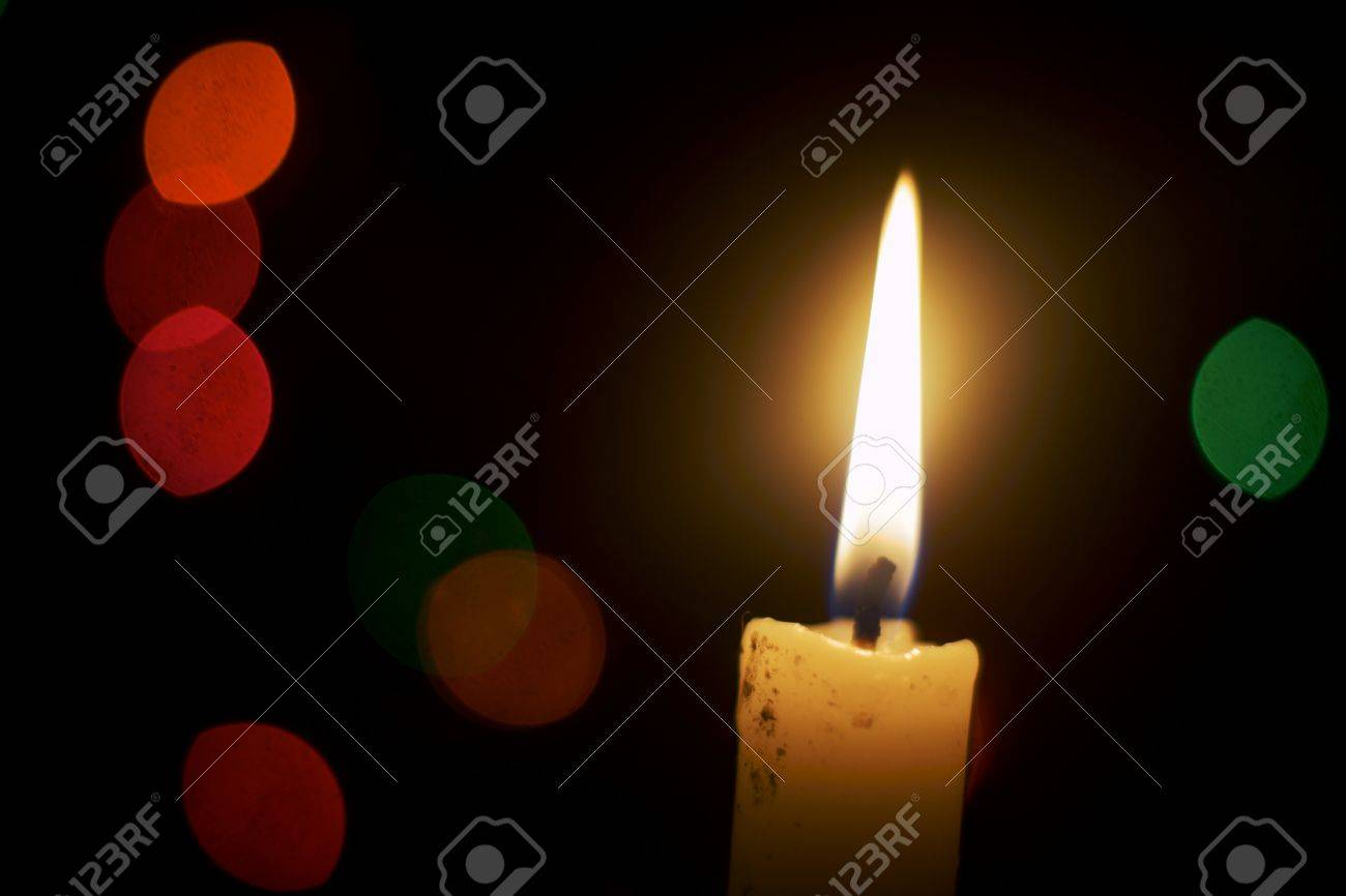 Candlelight In Dark Room With Color Lamps Stock Photo   16455999