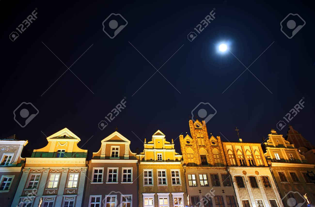 Houses on the market and the moon in Poznan, Poland