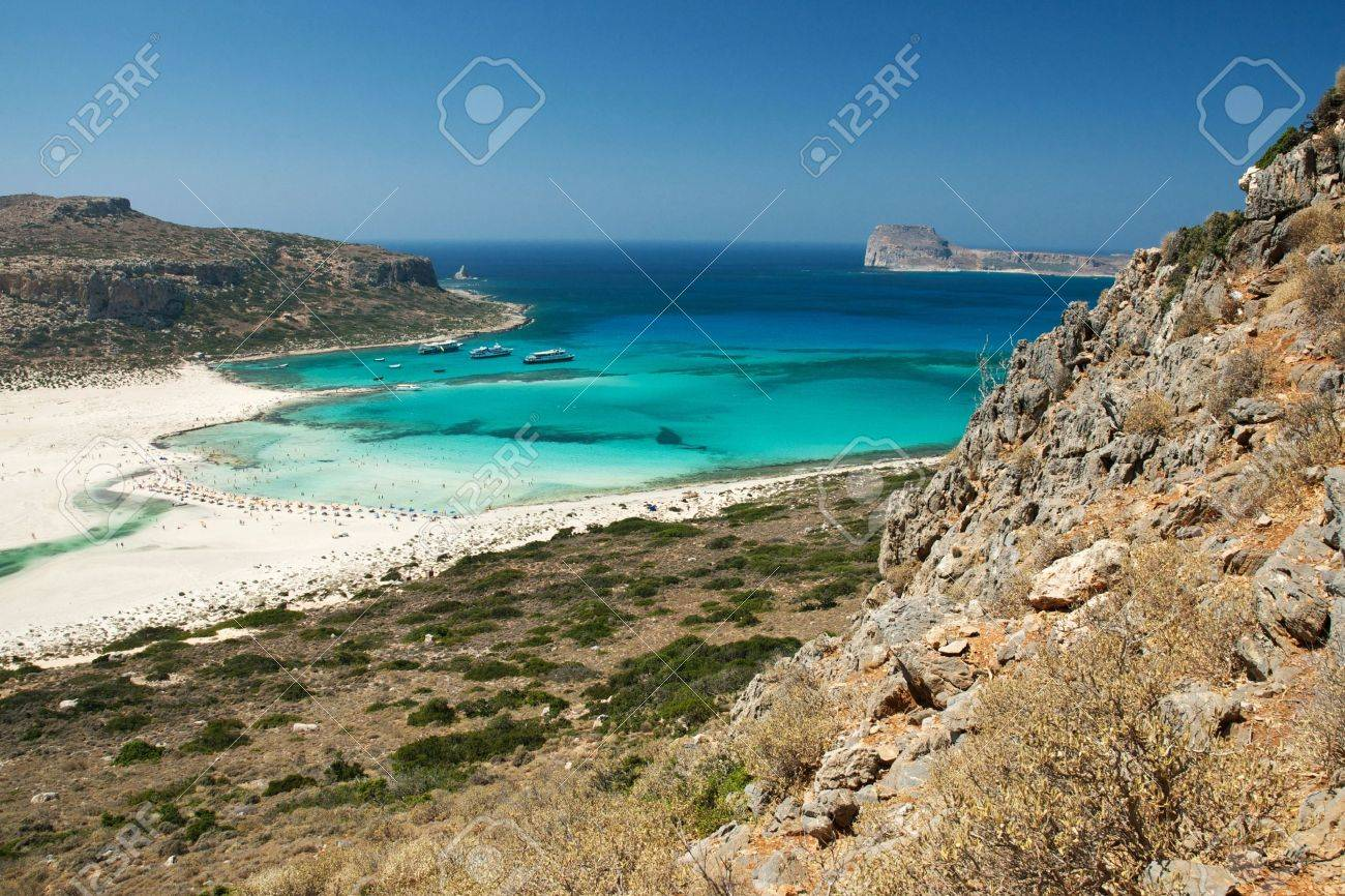 View of the famous Balos laggon from above, Crete island, Greece Stock Photo - 14014068