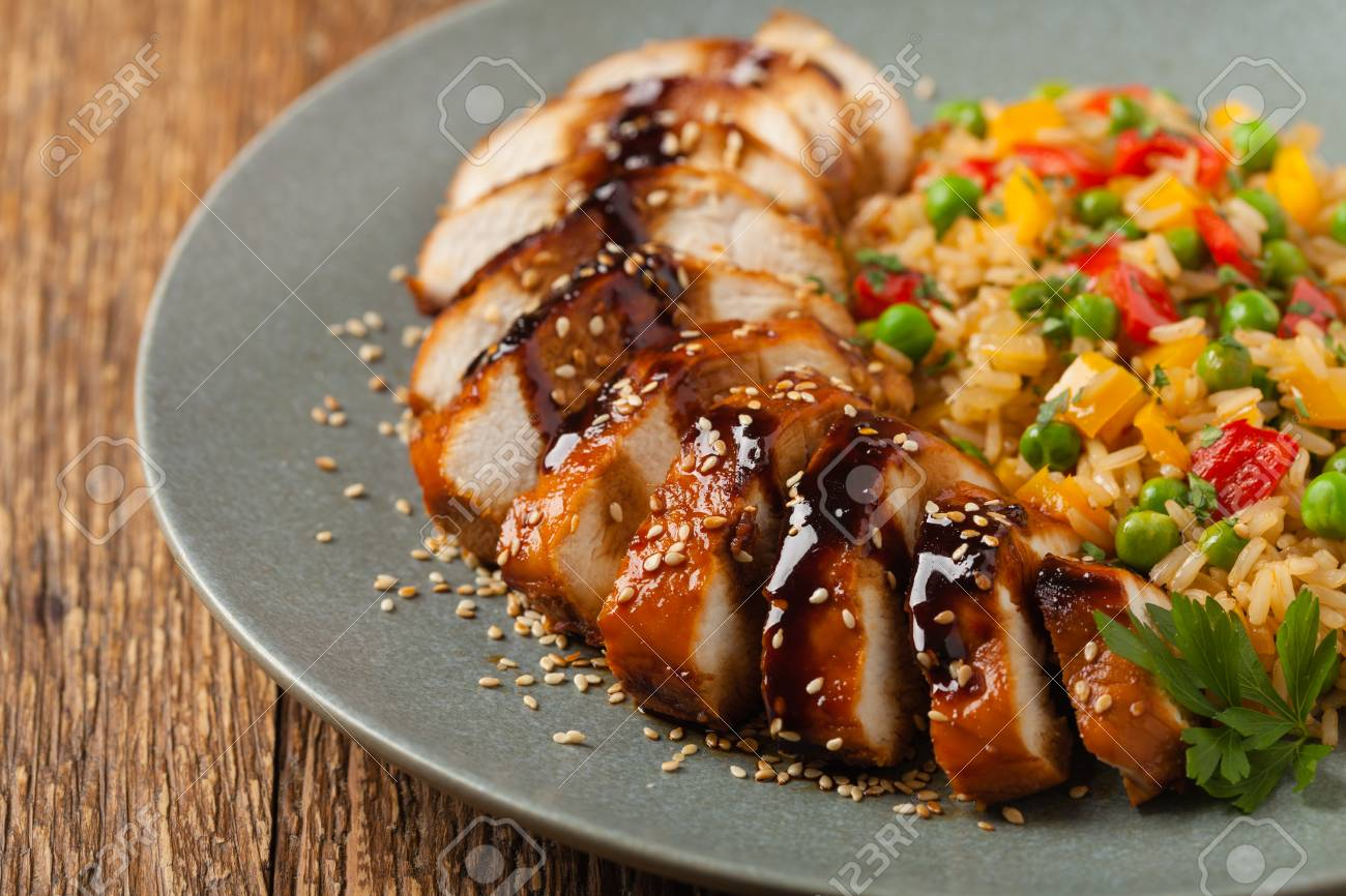 Grilled Chicken Breast In Teriyaki Sauce Served With Brown Rice
