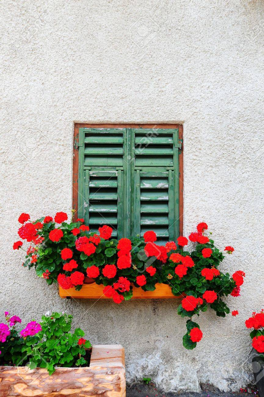 Typical Italian Window With Closed Wooden Shutters, Decorated With Fresh Flowers Stock Photo - 8119841