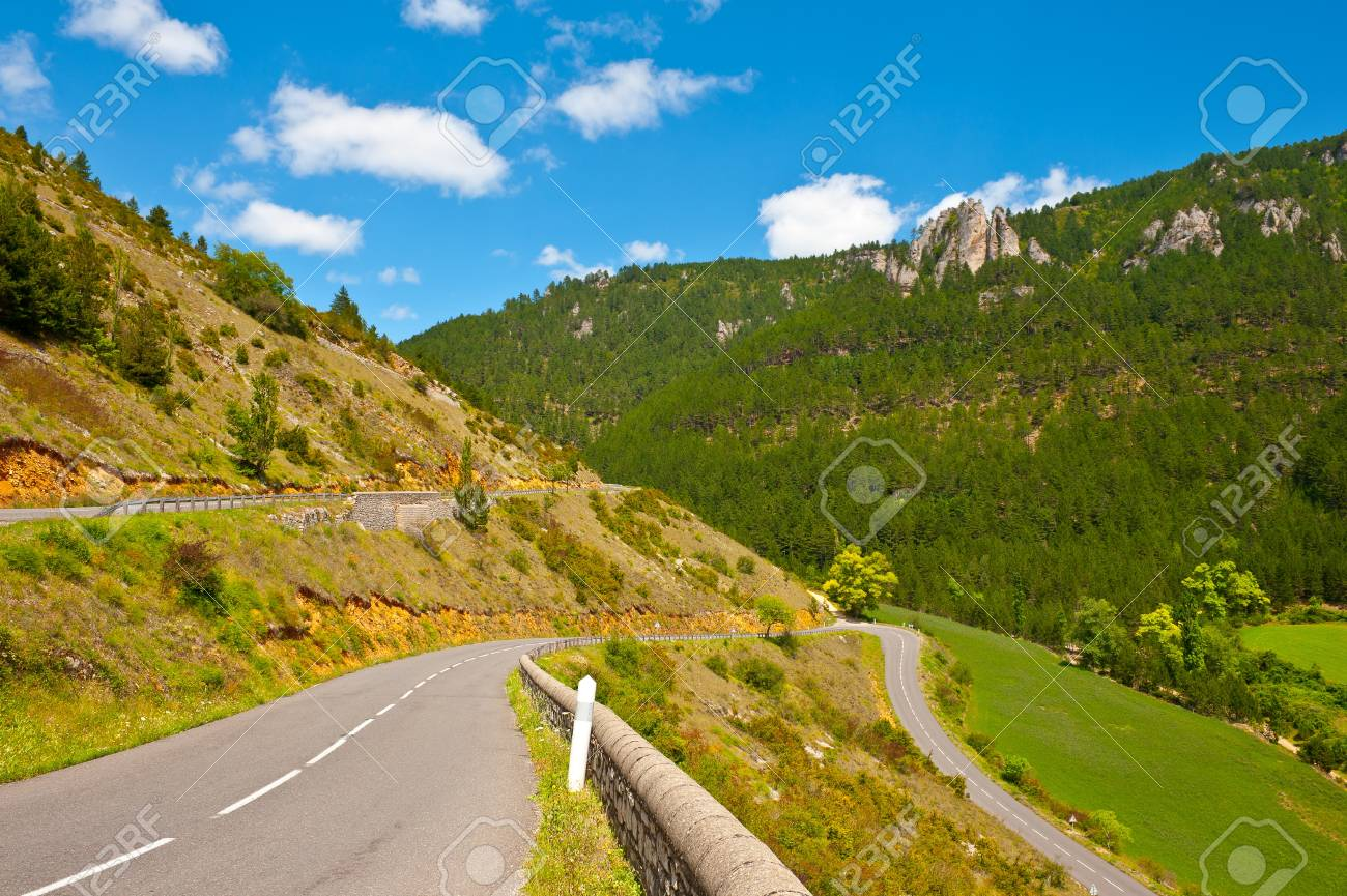 Winding Paved Road in the French Alps Stock Photo - 12939132
