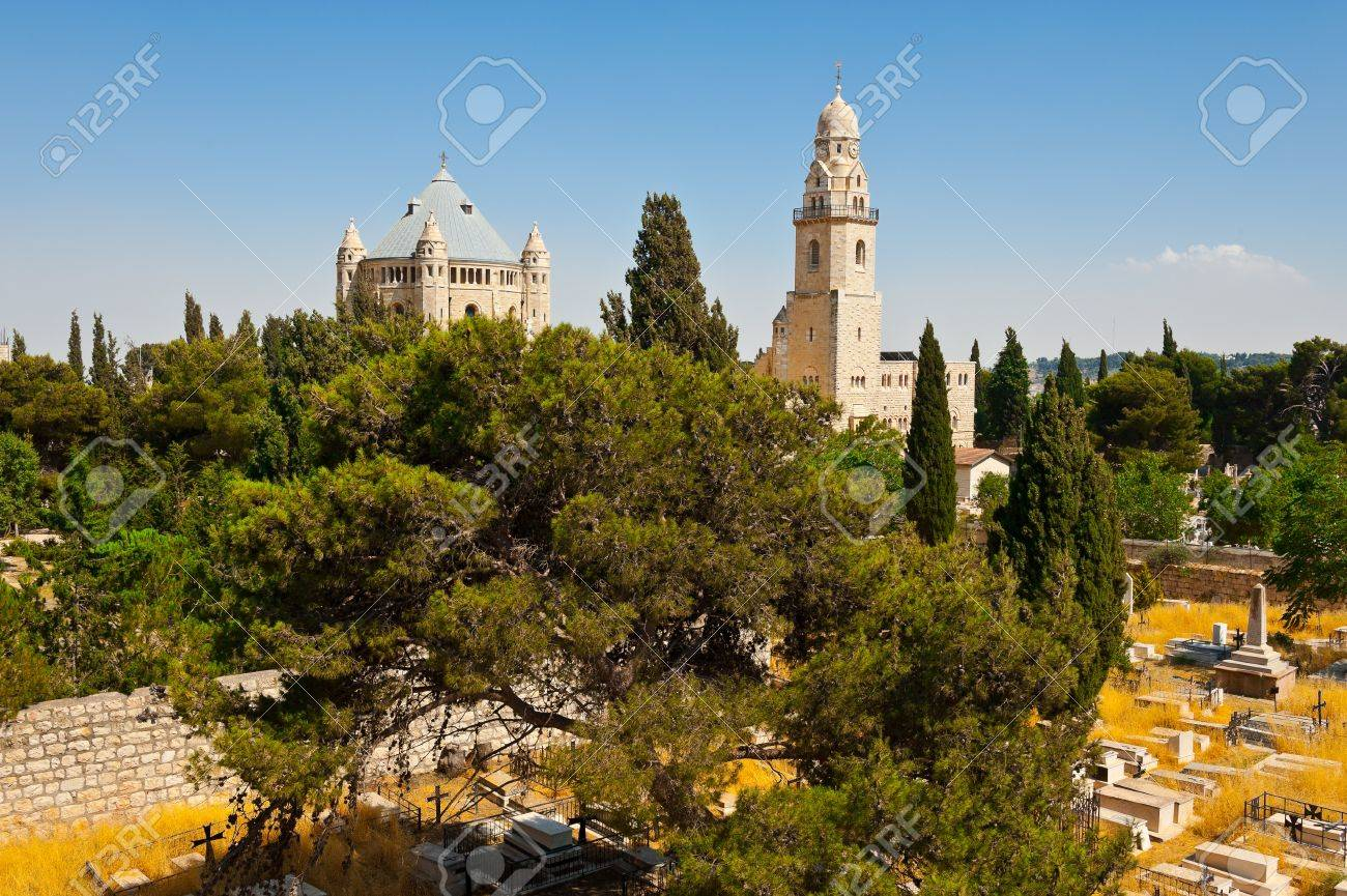 Church of Dormition and Bell-Tower on Mount Zion Stock Photo - 14387123